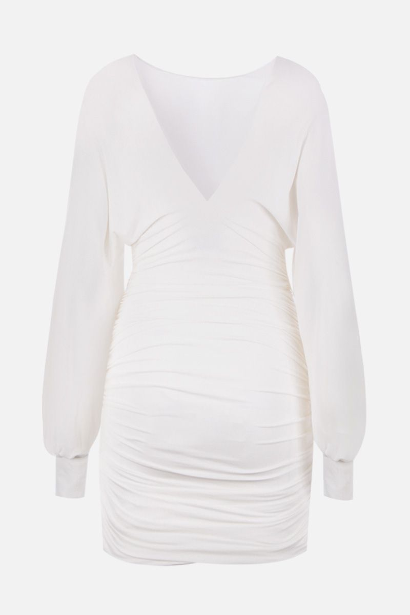 ALEXANDRE VAUTHIER: draped dress in stretch jersey Color White_2