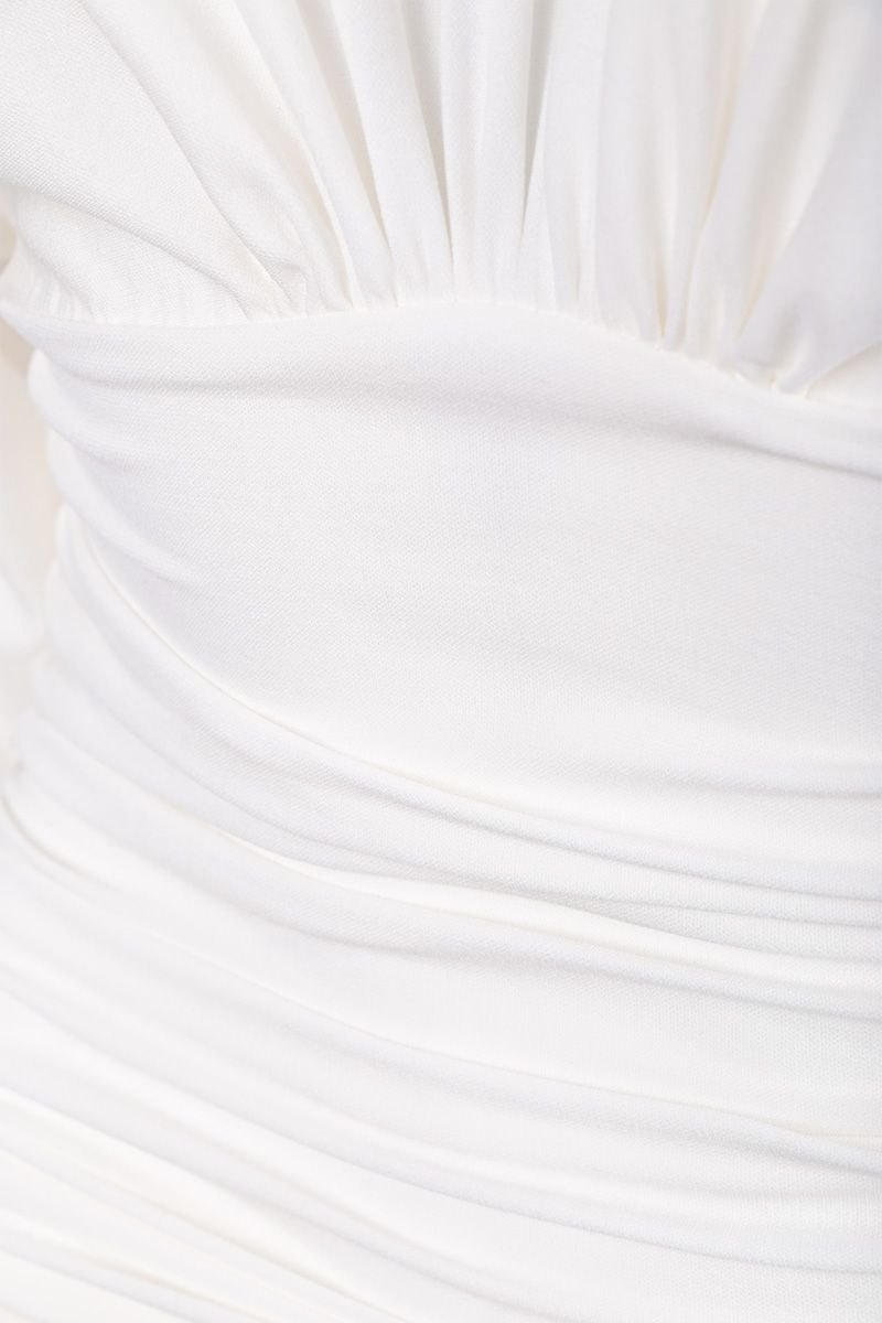 ALEXANDRE VAUTHIER: draped dress in stretch jersey Color White_3