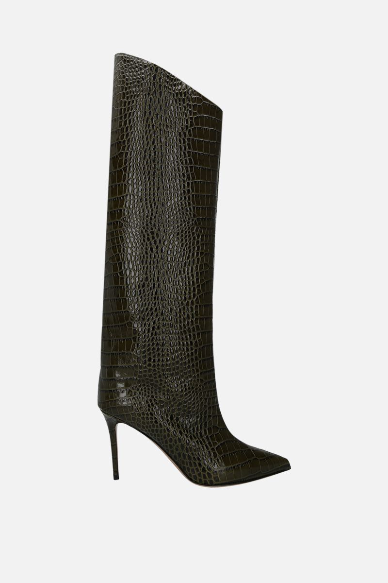 ALEXANDRE VAUTHIER: Alex crocodile embossed leather boots Color Green_1