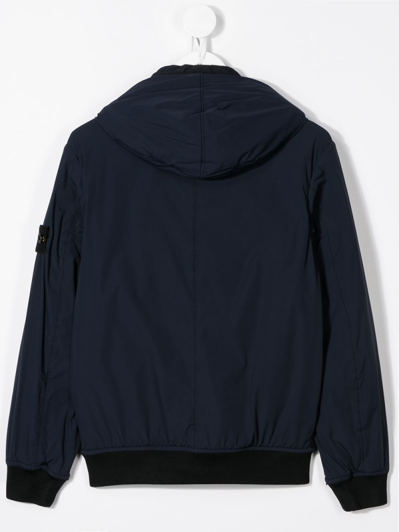 STONE ISLAND JUNIOR: logo badge-detailed technical fabric full-zip jacket Color Blue_2