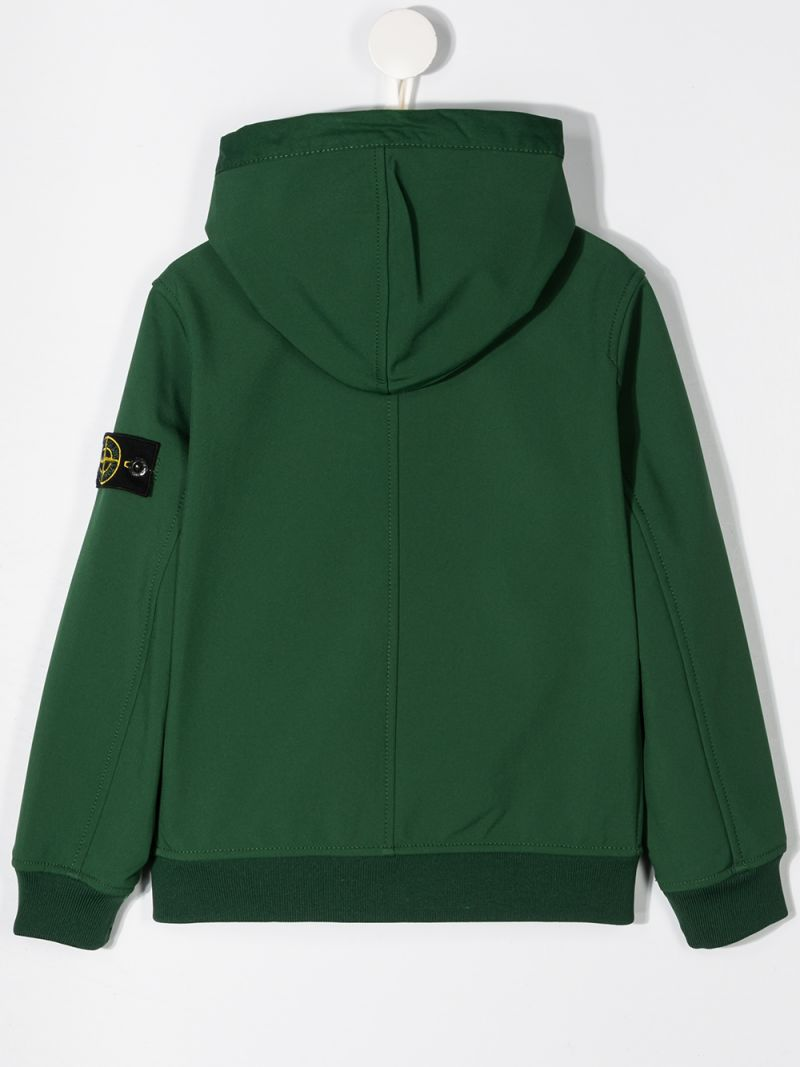 STONE ISLAND JUNIOR: logo badge-detailed technical cotton full-zip jacket Color Green_2