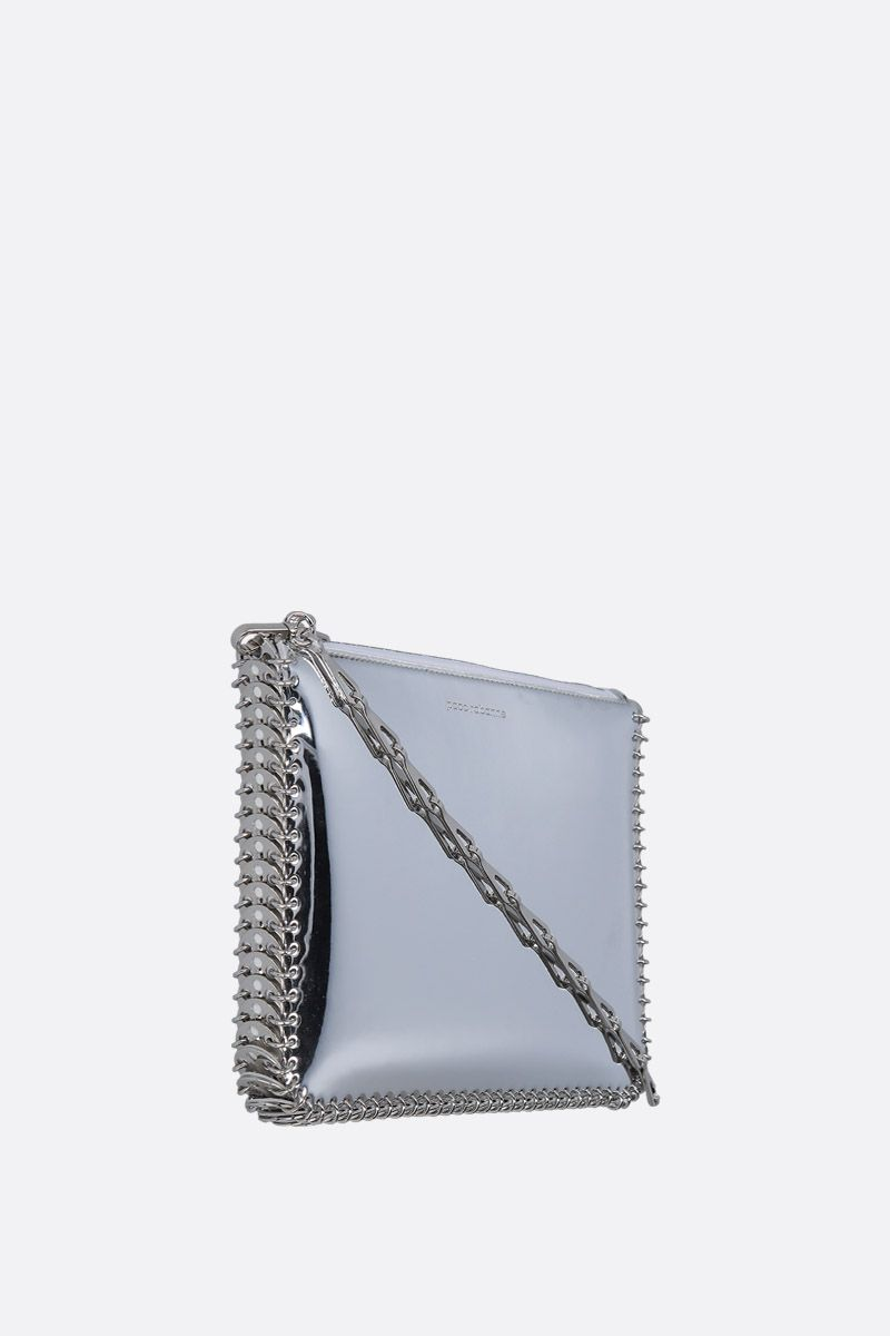 PACO RABANNE: mirror effect faux leather crossbody bag Color Silver_2