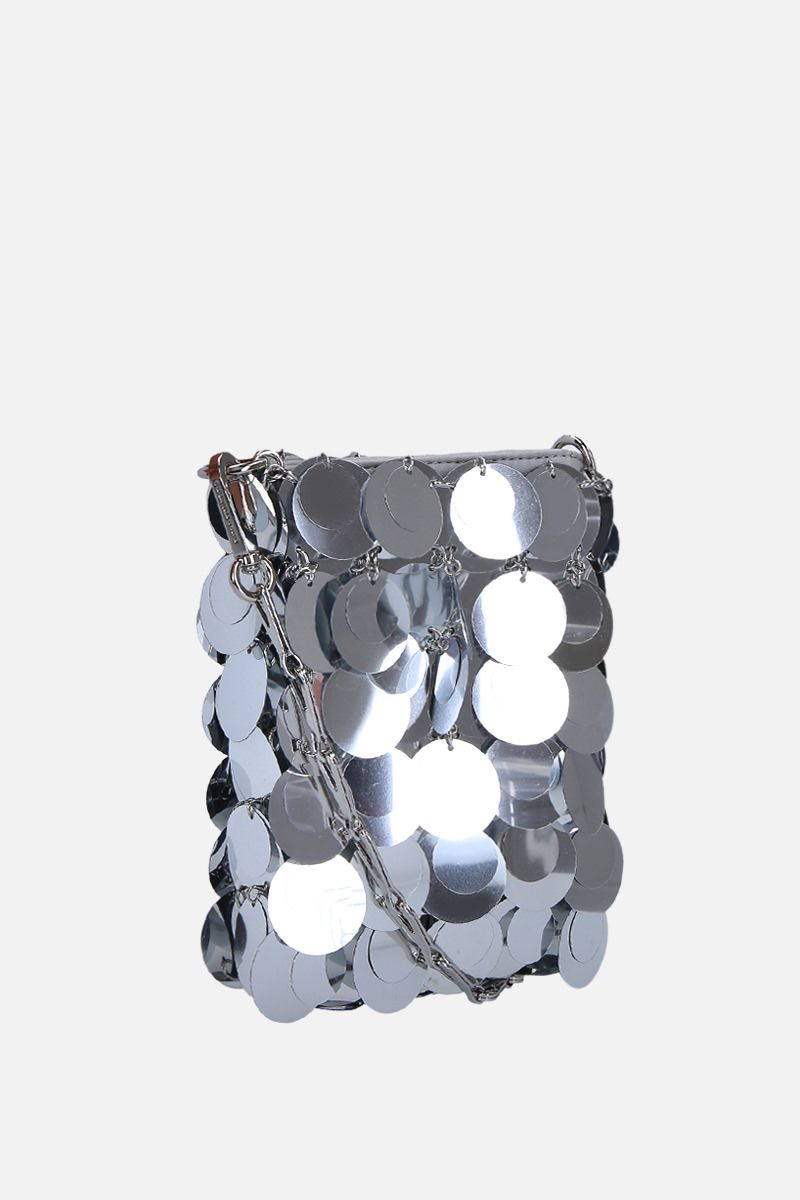 PACO RABANNE: 1969 mini sequinned shoulder bag Color Silver_2