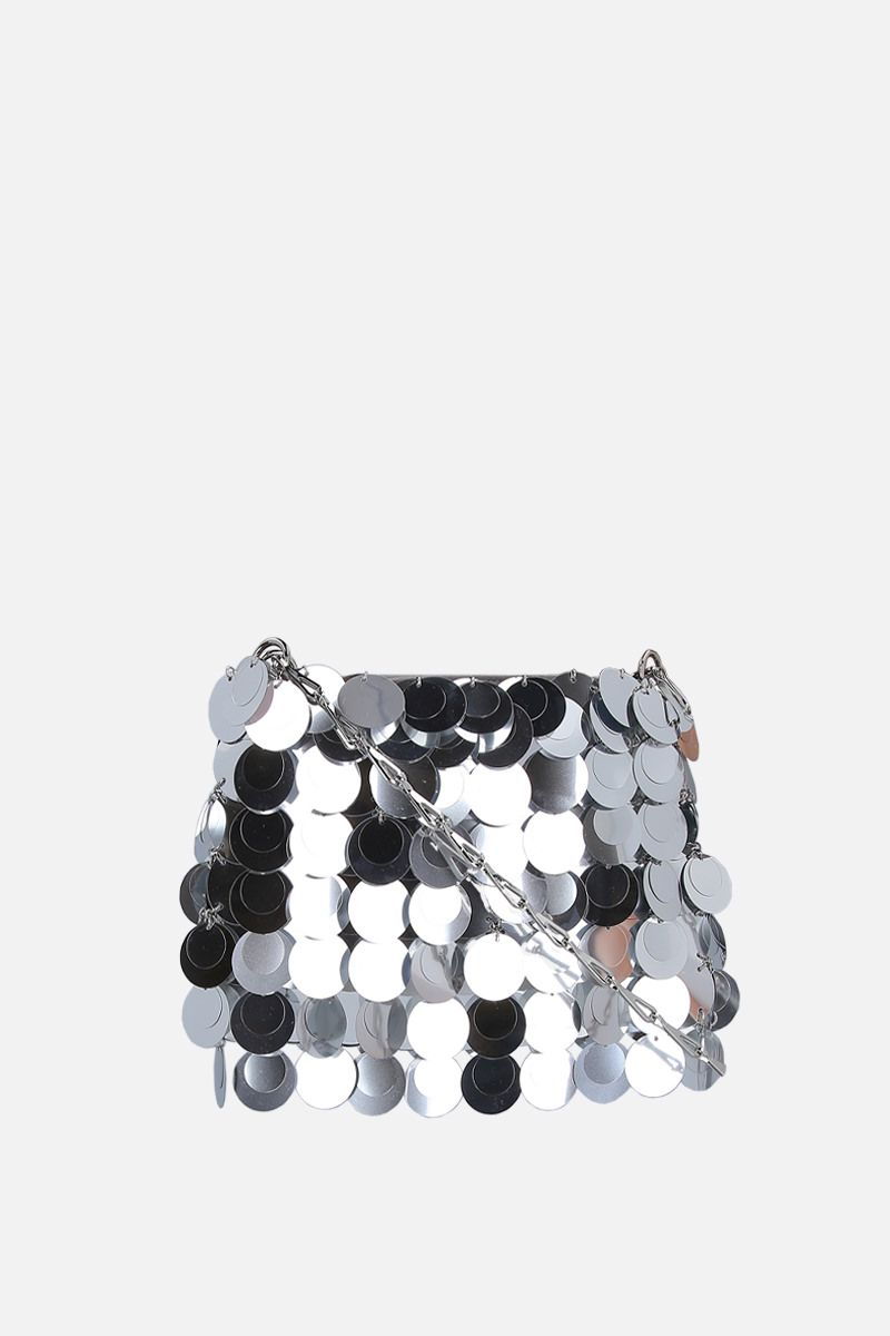 PACO RABANNE: 1969 Sparkle nano sequinned shoulder bag Color Silver_2