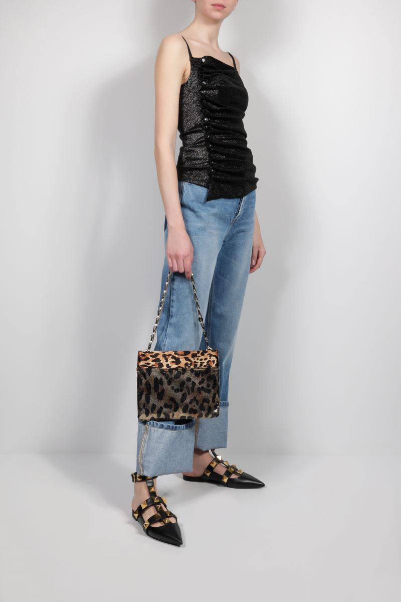 PACO RABANNE: Pixel satin and metal mesh shoulder bag Color Animalier_2