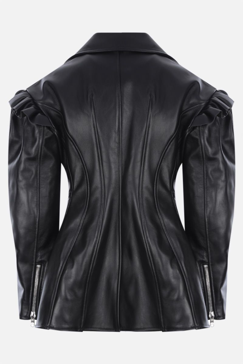 SIMONE ROCHA: ruches-detailed leather jacket Color Black_2