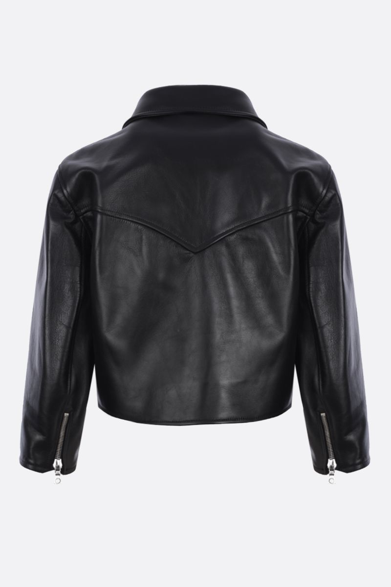 SIMONE ROCHA: giacca cropped in pelle con rouches Colore Black_2