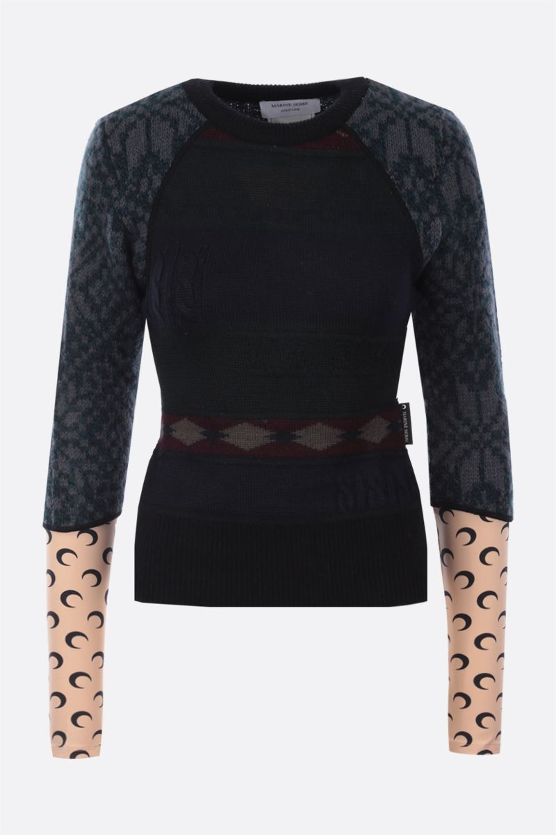 MARINE SERRE: pullover in regenerated wool and recycled technical fabric Color Black_1