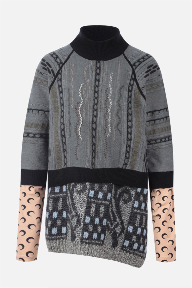 MARINE SERRE: recycled technical fabric and regenerated wool pullover Color Black_1