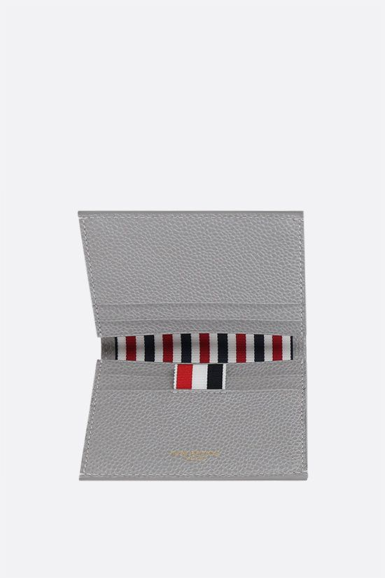 THOM BROWNE: tricolour-detailed pebble grain leather card case Color Grey_2