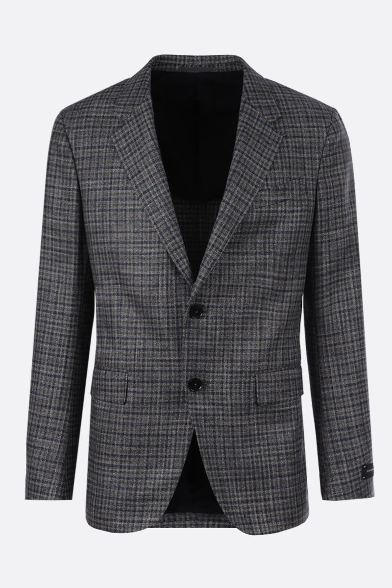 ERMENEGILDO ZEGNA: Siena wool silk linen blend single-breasted jacket Color Multicolor_1
