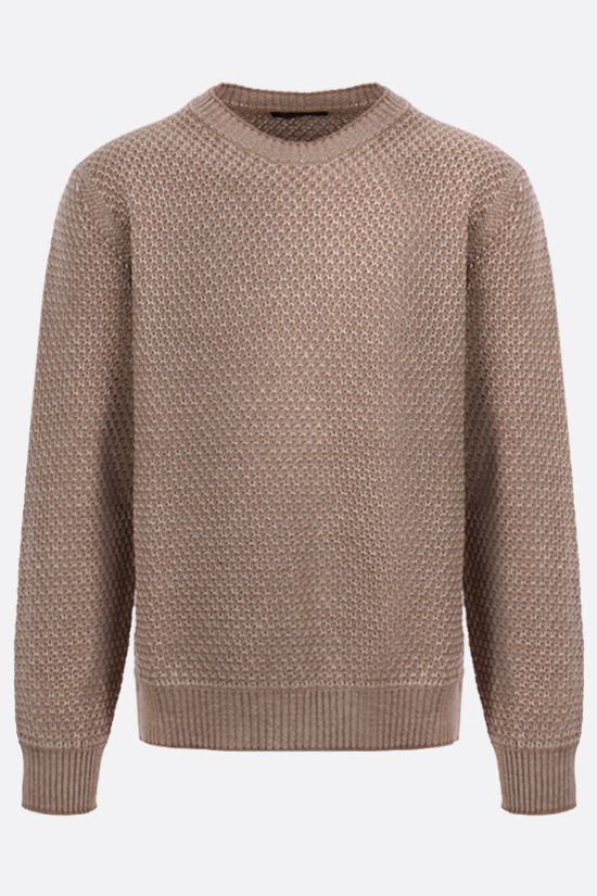ERMENEGILDO ZEGNA: linen cotton blend pullover Color Brown_1