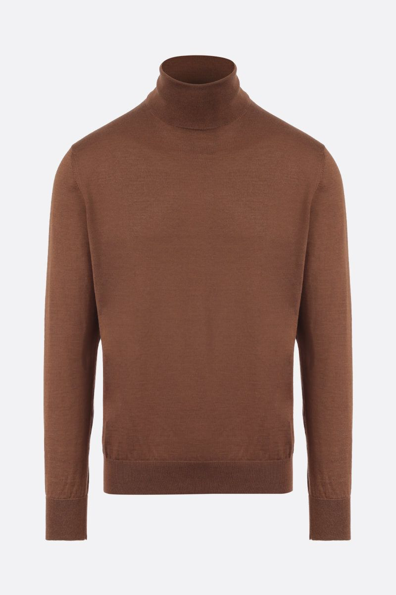 ERMENEGILDO ZEGNA: cashmere silk blend turtleneck Color Brown_1