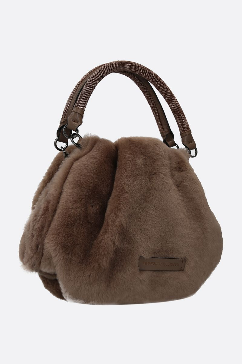 BRUNELLO CUCINELLI: monili-detailed shearling handbag Color Brown_2