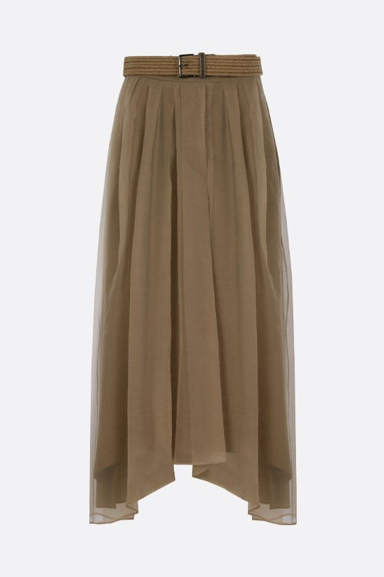 BRUNELLO CUCINELLI: belt-detailed chiffon pleated skirt Color Brown_1
