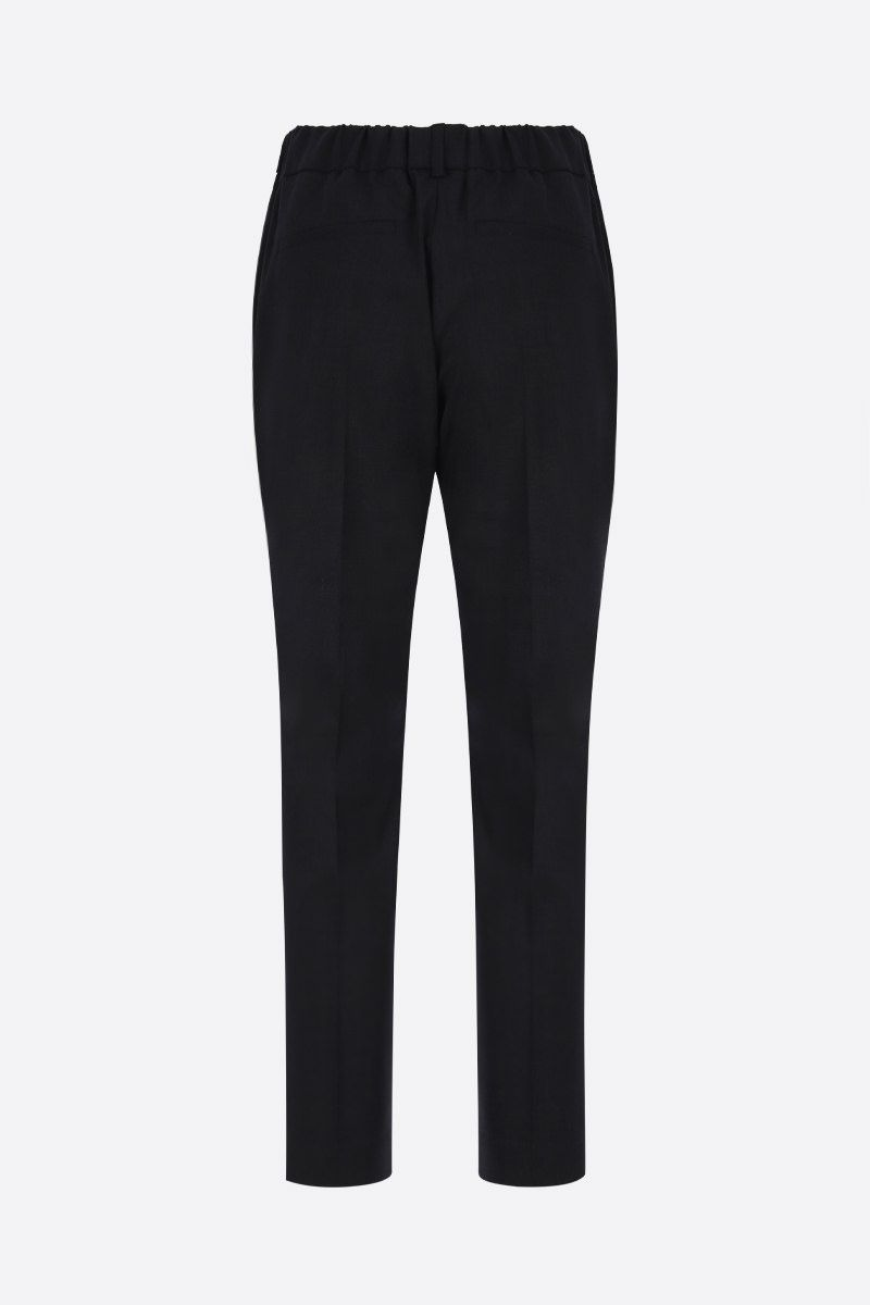 BRUNELLO CUCINELLI: monili-detailed stretch wool joggers Color Black_2