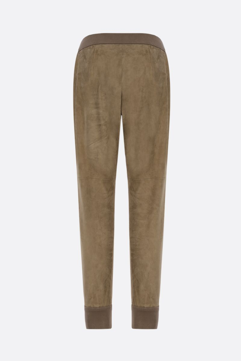 BRUNELLO CUCINELLI: soft suede joggers Color Brown_2