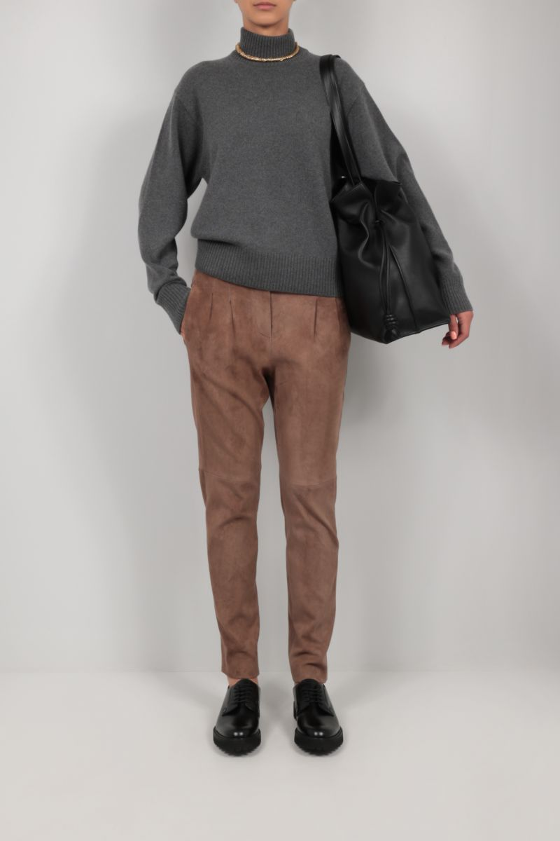 BRUNELLO CUCINELLI: stretch suede pleated chino pants Color Brown_2