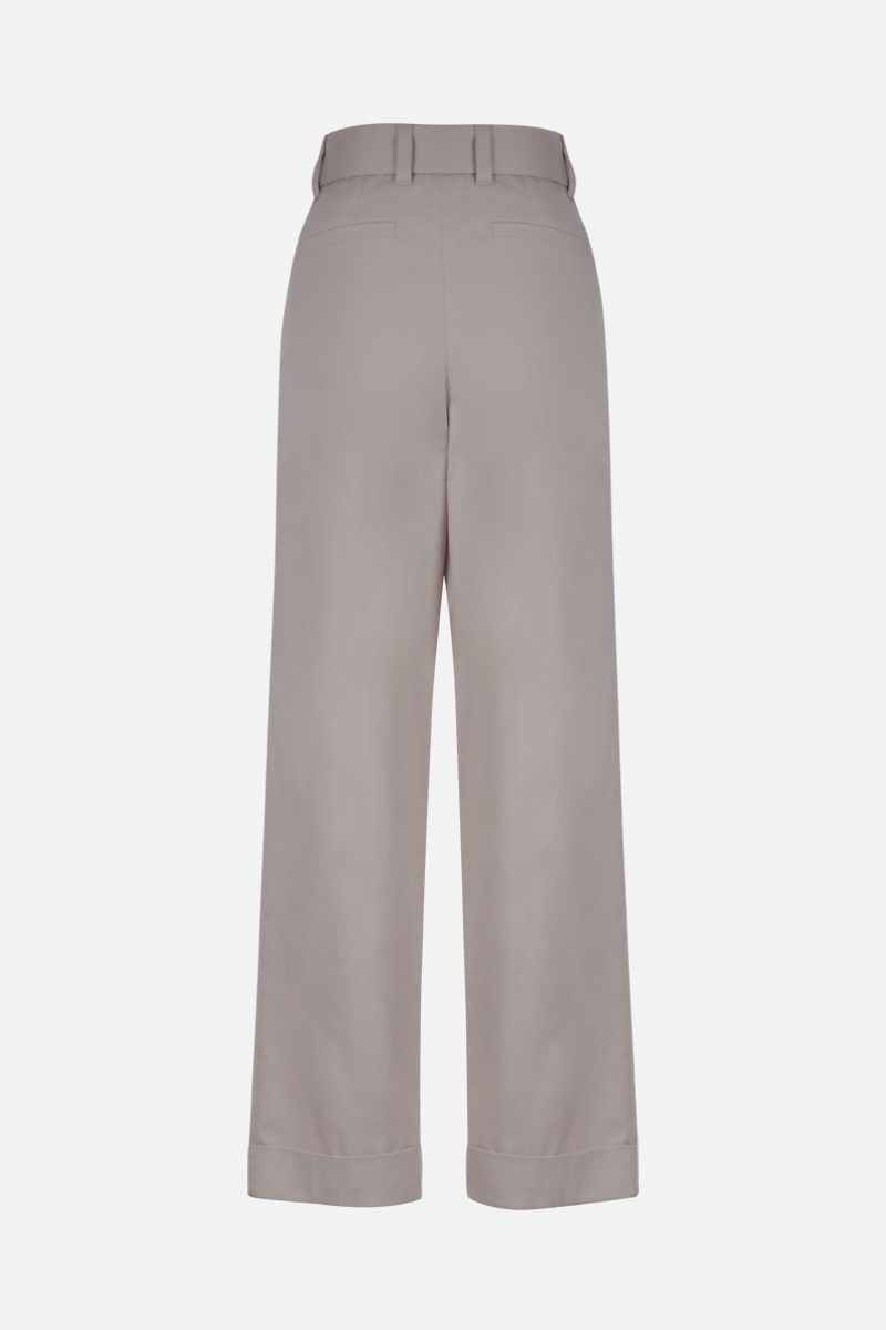 BRUNELLO CUCINELLI: belt-detailed stretch cotton wide-leg pants Color White_2
