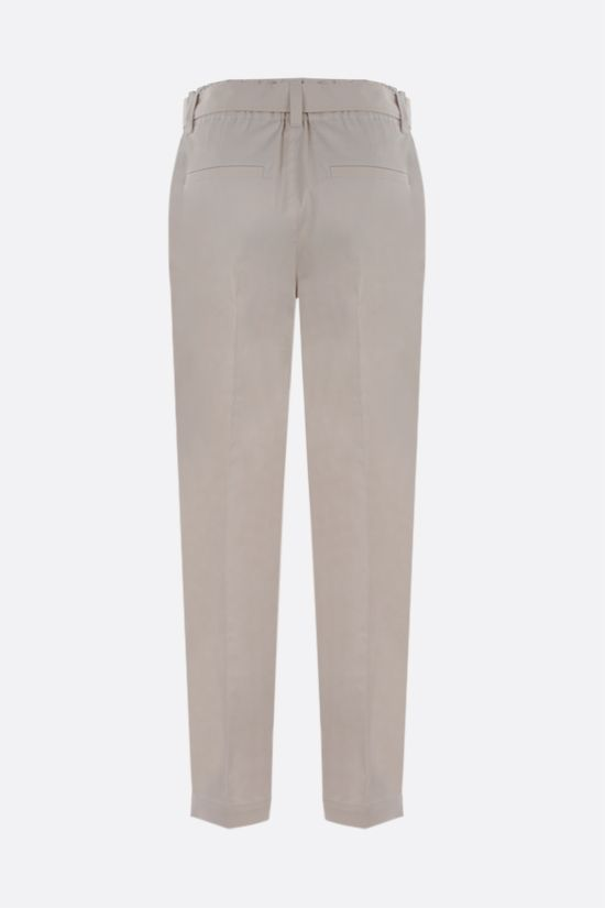 BRUNELLO CUCINELLI: belt-detailed stretch cotton darted pants Color Neutral_2