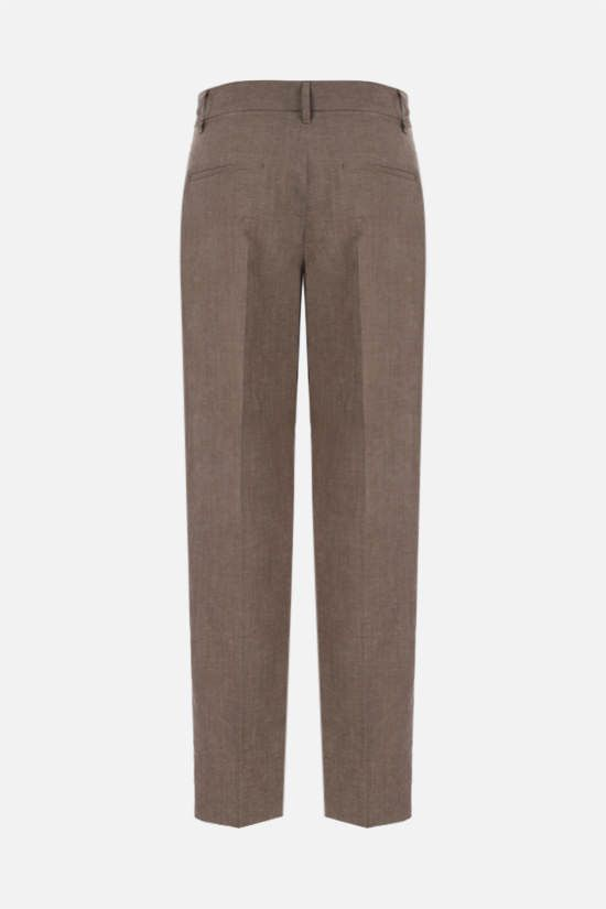 BRUNELLO CUCINELLI: monili-detailed wool linen blend darted pants Color Brown_2