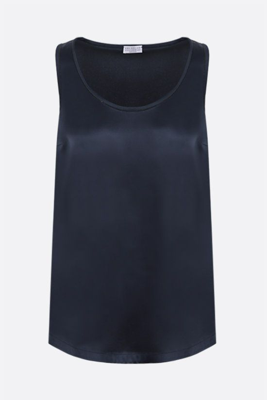 BRUNELLO CUCINELLI: monili-detailed stretch silk sleeveless top Color Blue_1
