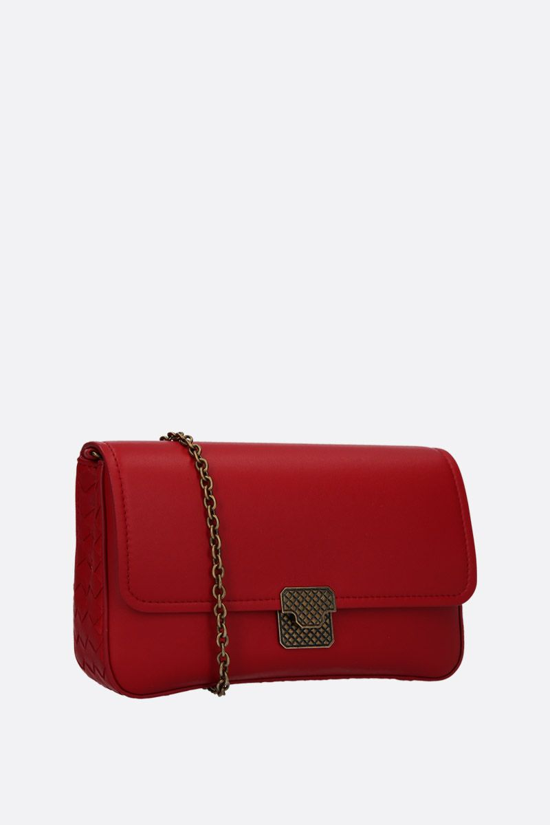 BOTTEGA VENETA: nappa leather wallet on chain Color Red_2