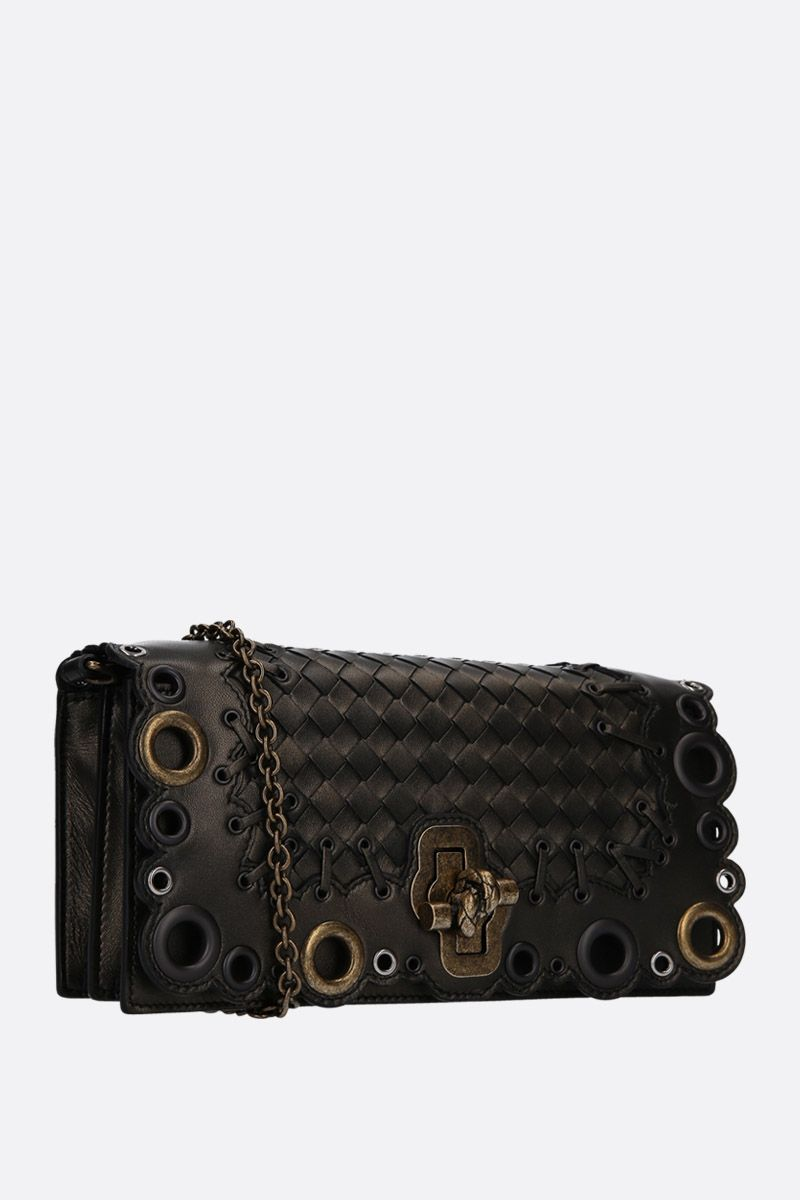 BOTTEGA VENETA: borsa Knot Clutch in Intrecciato Lace Color Brown_2