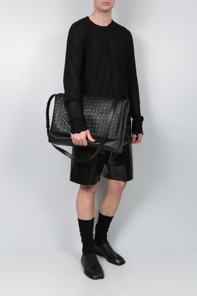 BOTTEGA VENETA: Intrecciato VN large messenger bag Color Black_2