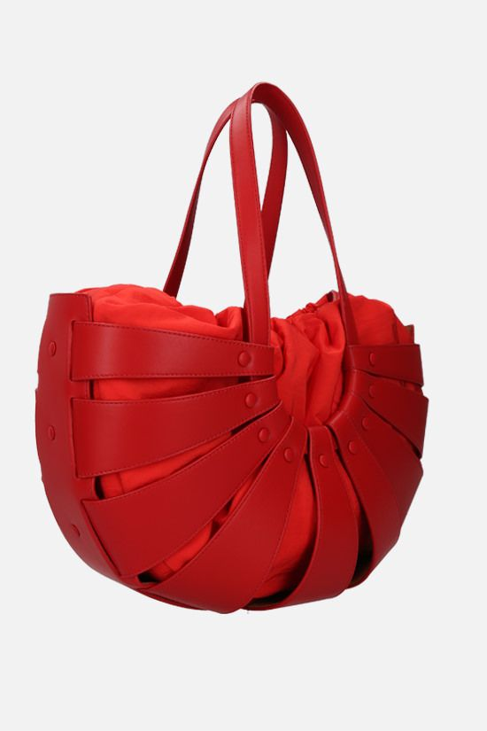 BOTTEGA VENETA: The Shell smooth leather shoulder bag Color Red_2