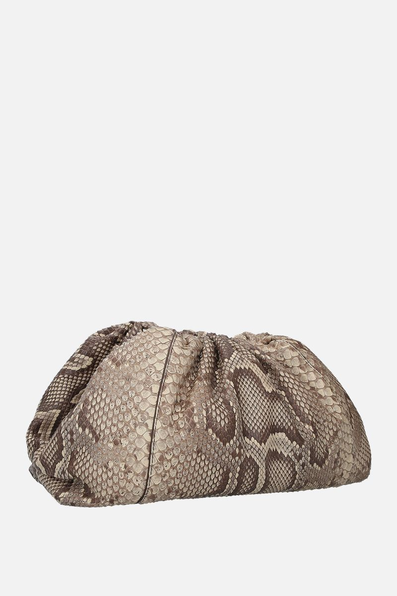 BOTTEGA VENETA: The Pouch clutch in python leather Color Neutral_2