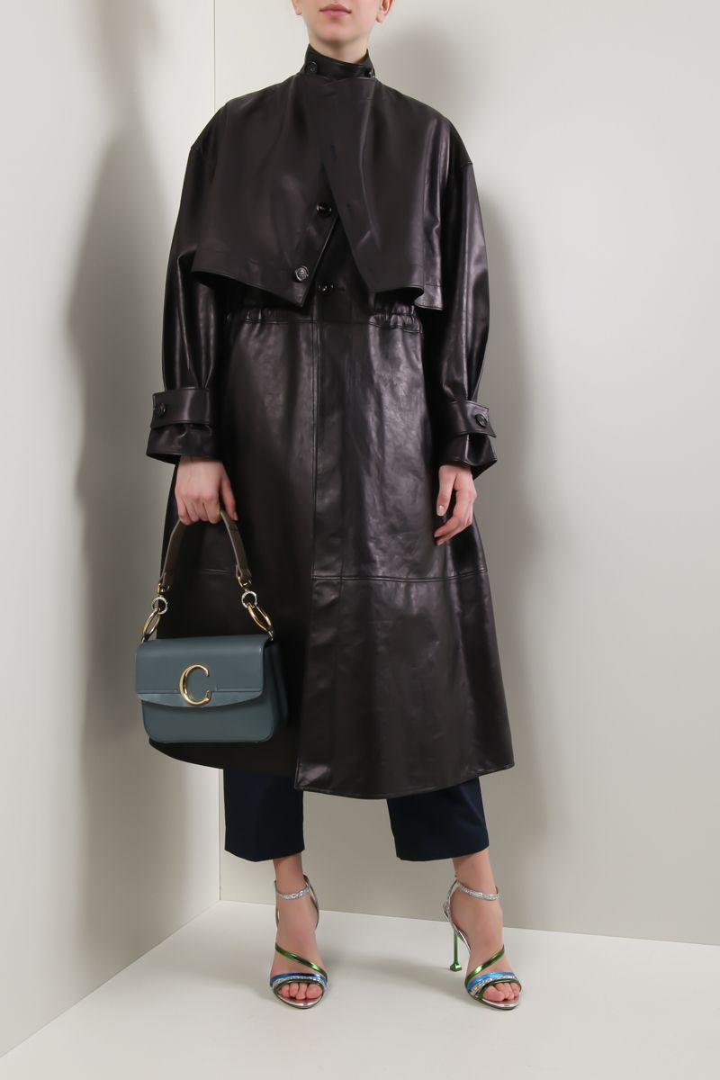 BOTTEGA VENETA: leather single-breasted trench coat Color Black_2