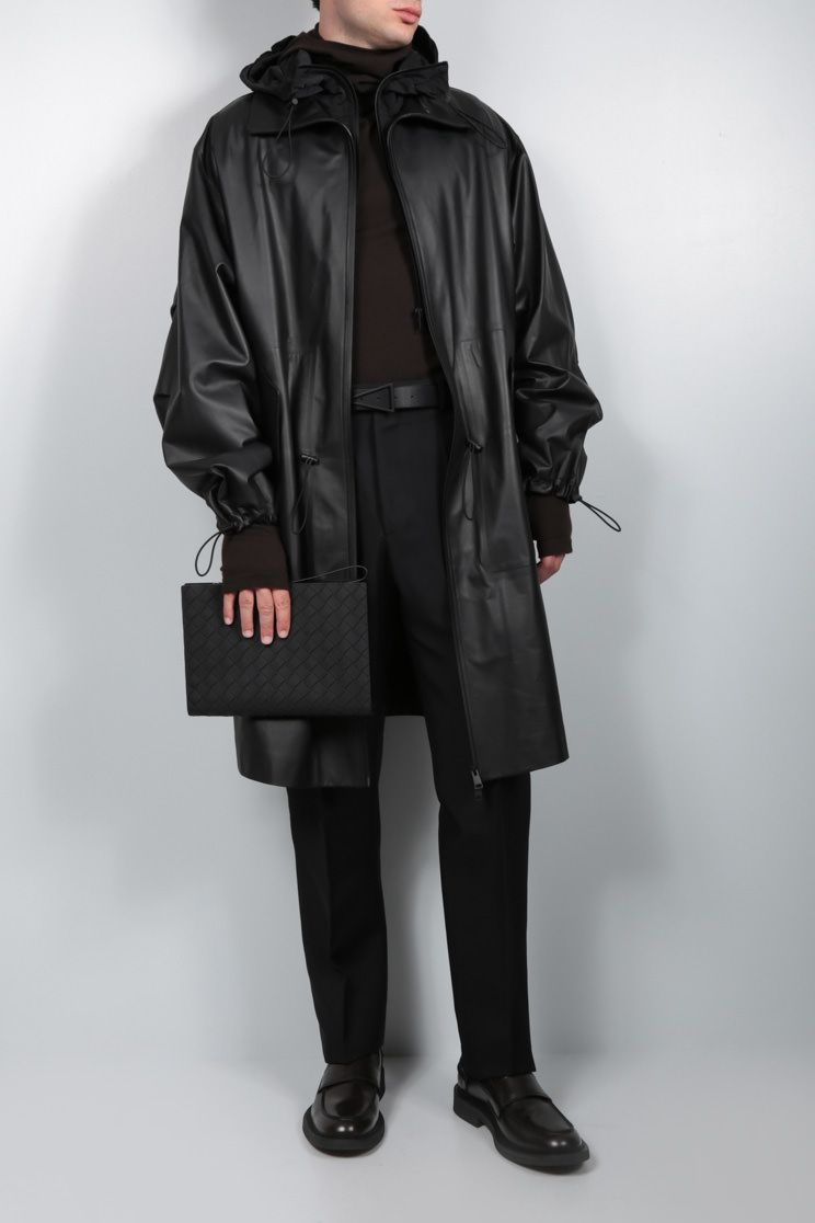 BOTTEGA VENETA: matte leather parka Color Black_2