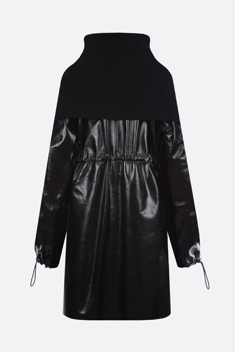 BOTTEGA VENETA: oversize shiny leather parka Color Black_2