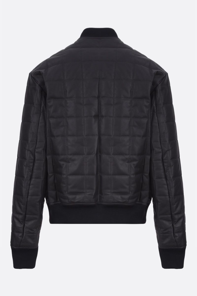 BOTTEGA VENETA: quilted matte leather bomber jacket Color Black_2