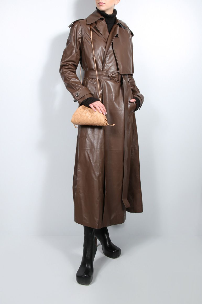 BOTTEGA VENETA: double-breasted shiny leather trench coat Color Brown_3