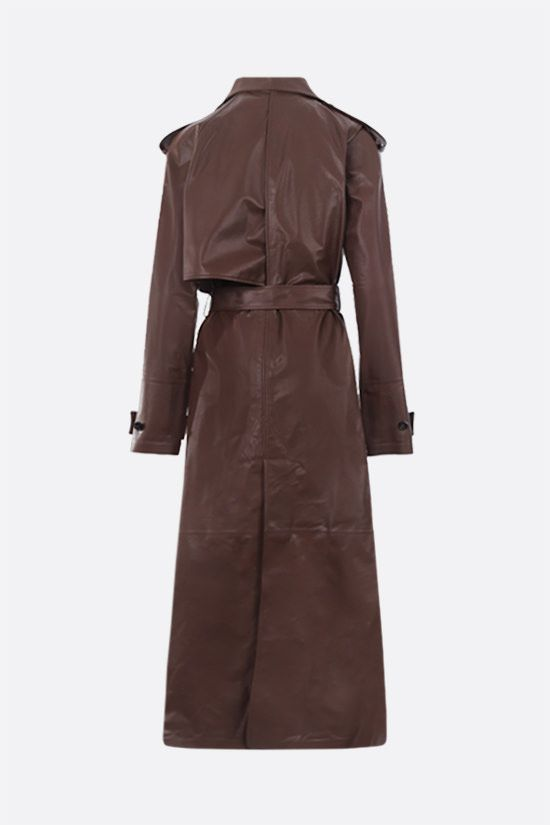 BOTTEGA VENETA: double-breasted shiny leather trench coat Color Brown_2