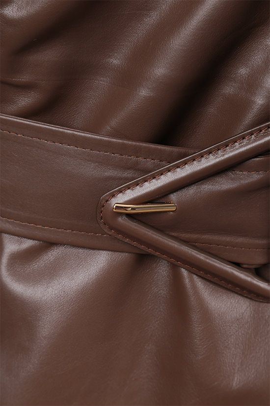 BOTTEGA VENETA: double-breasted shiny leather trench coat Color Brown_5