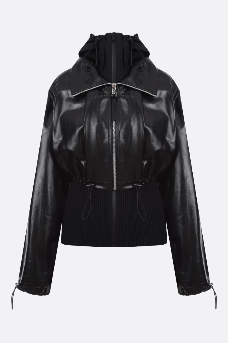BOTTEGA VENETA: shiny leather full-zip cardigan with removable cardigan Color Black_1