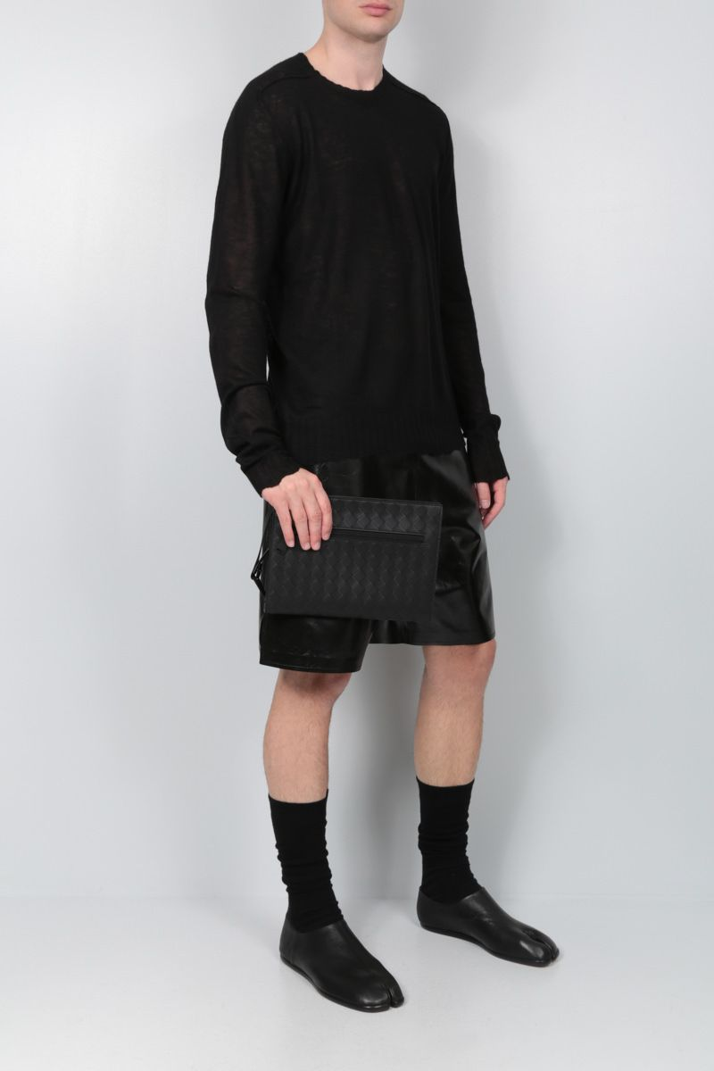 BOTTEGA VENETA: shiny leather shorts Color Black_2