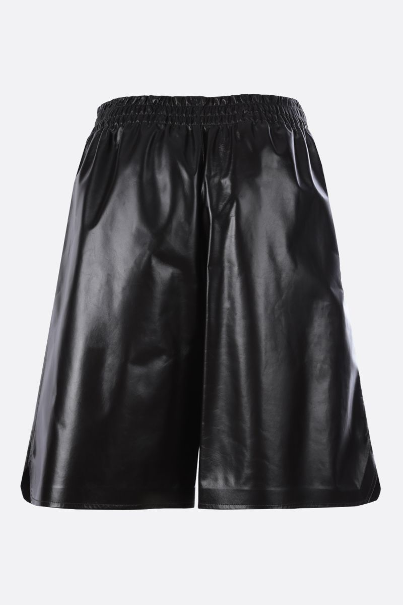 BOTTEGA VENETA: shiny leather shorts Color Brown_2