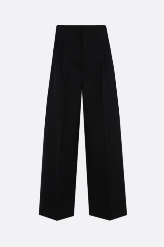 BOTTEGA VENETA: wide-leg cropped wool pants Color Black_1