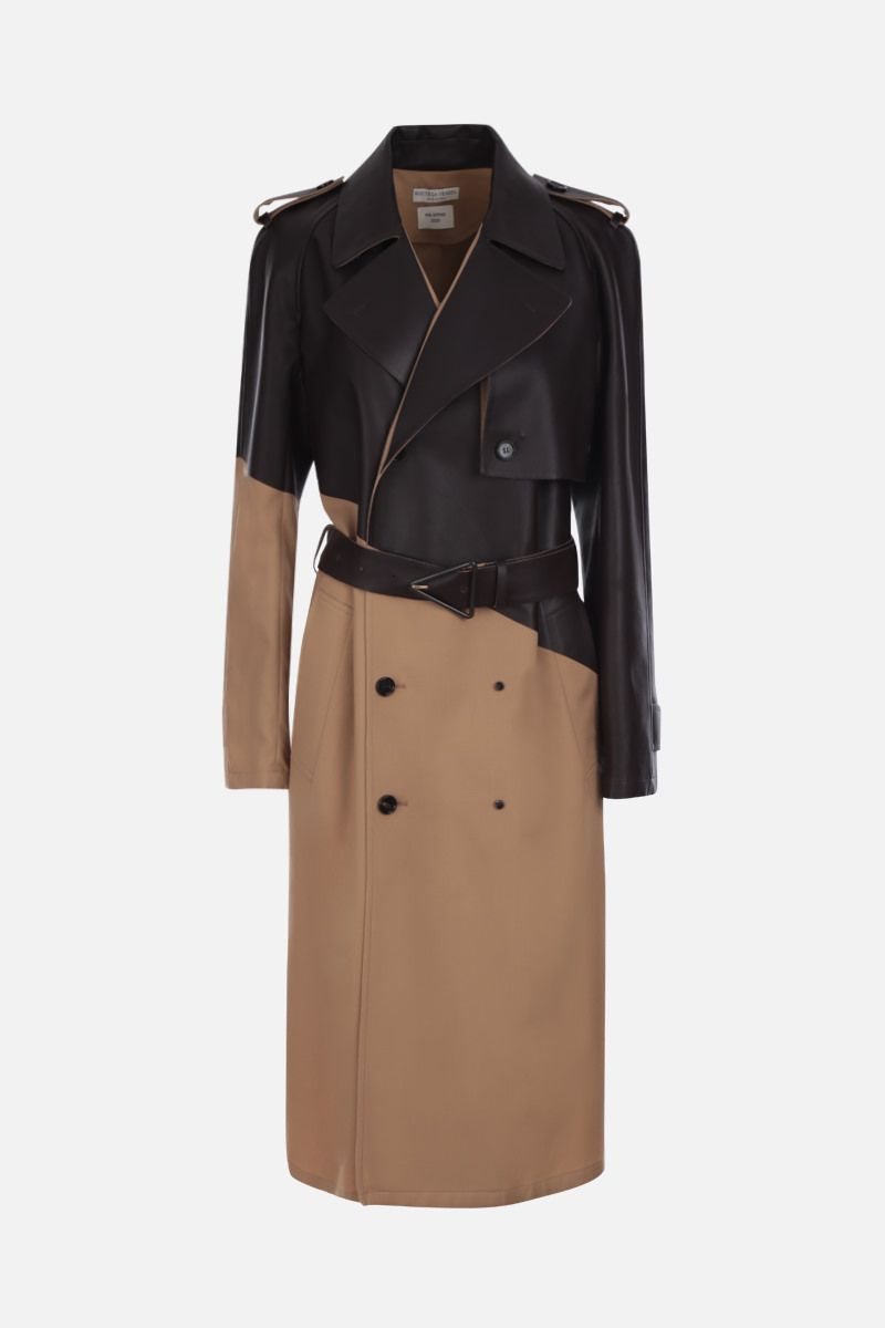 BOTTEGA VENETA: wool and leather double-breasted trench coat Color Brown_1