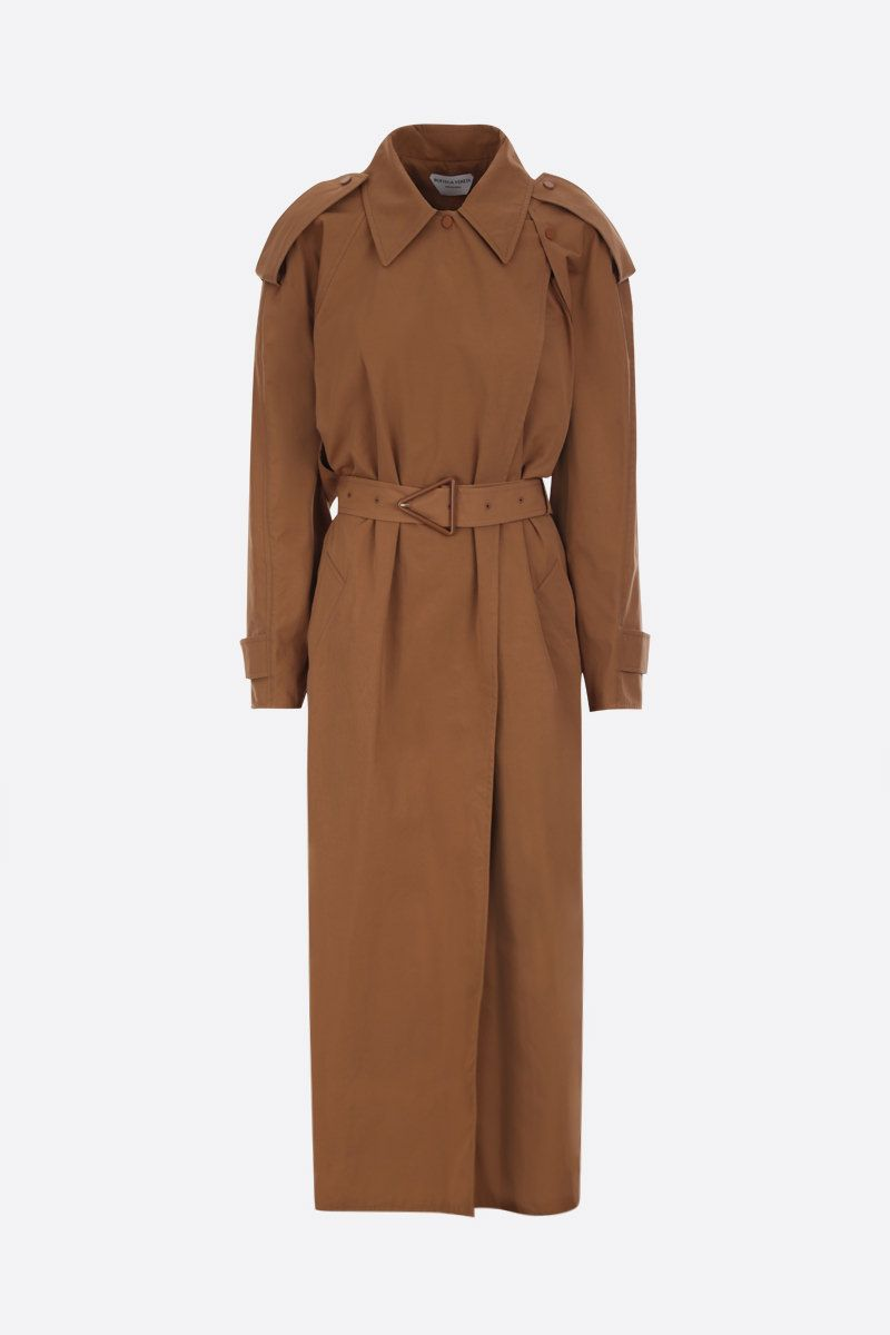 BOTTEGA VENETA: compact cotton wrap trench coat Color Brown_1