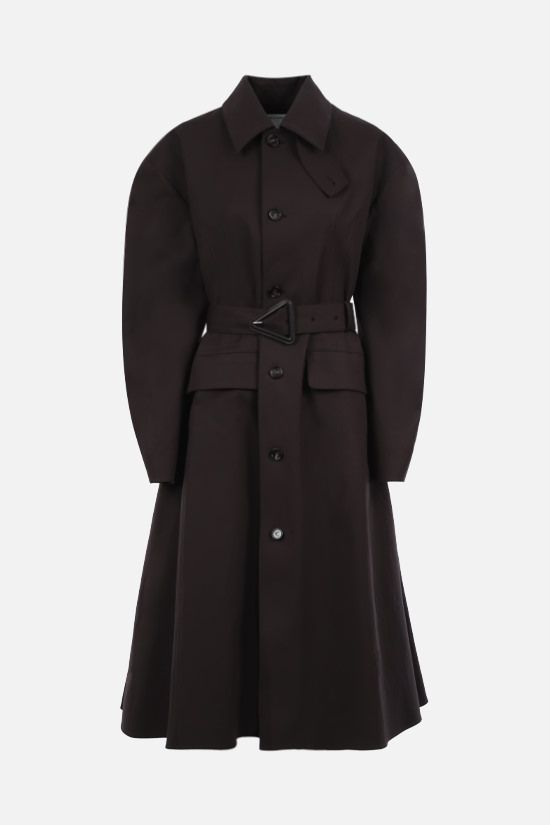 BOTTEGA VENETA: single-breasted stretch waterproof cotton trench coat Color Brown_1