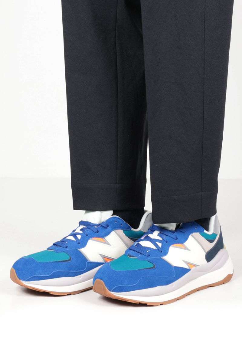 NEW BALANCE: 57/40 suede and mesh sneakers Color Blue_2
