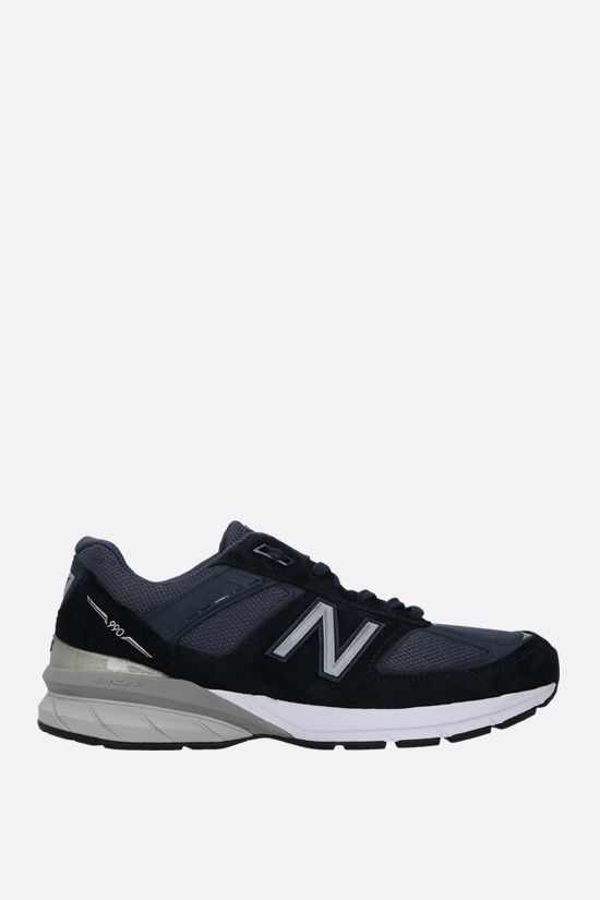 NEW BALANCE: 990v5 sneakers in a mix of materials Color Blue_1