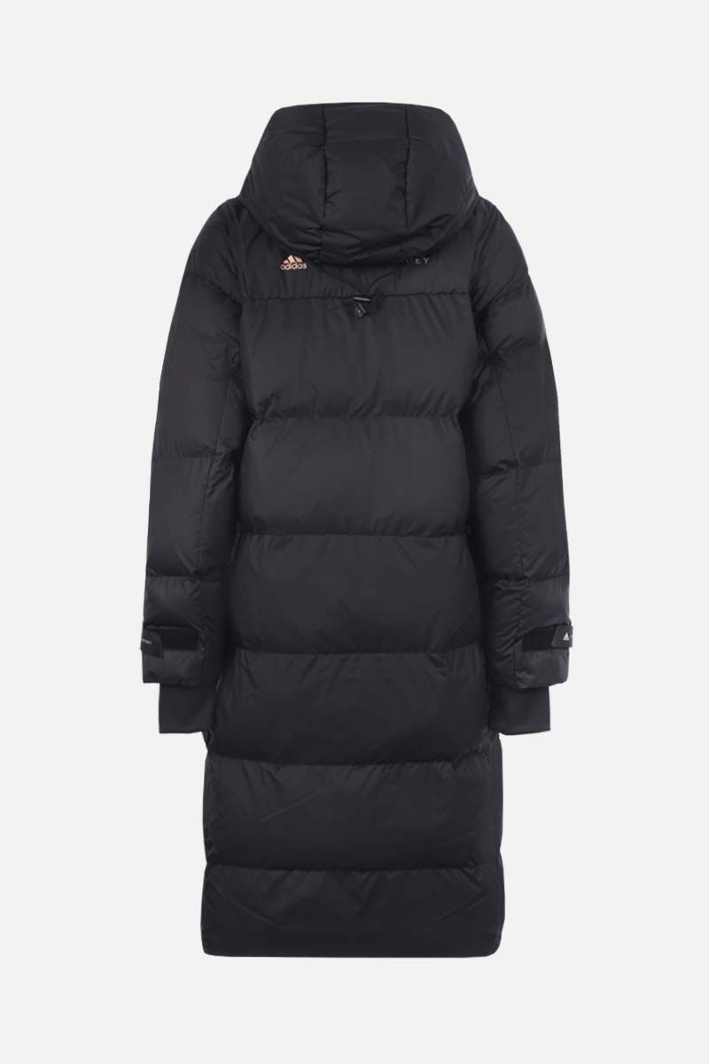 ADIDAS BY STELLA McCARTNEY: logo print nylon long padded jacket Color Black_2
