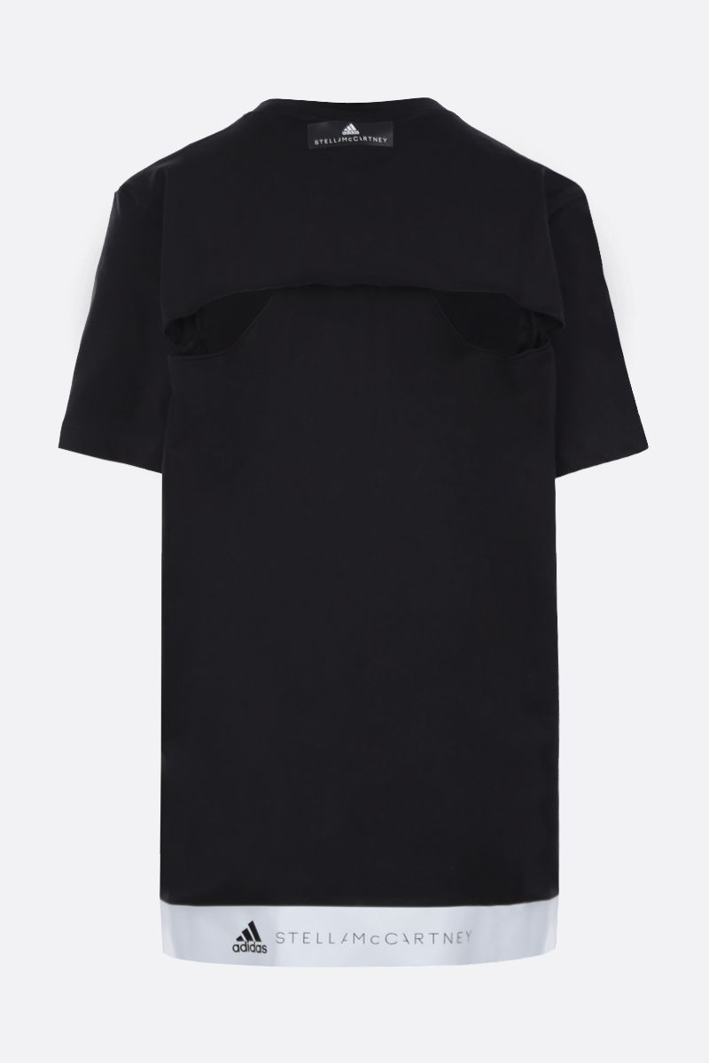 ADIDAS BY STELLA McCARTNEY: t-shirt in misto cotone stampa logo Colore Nero_2
