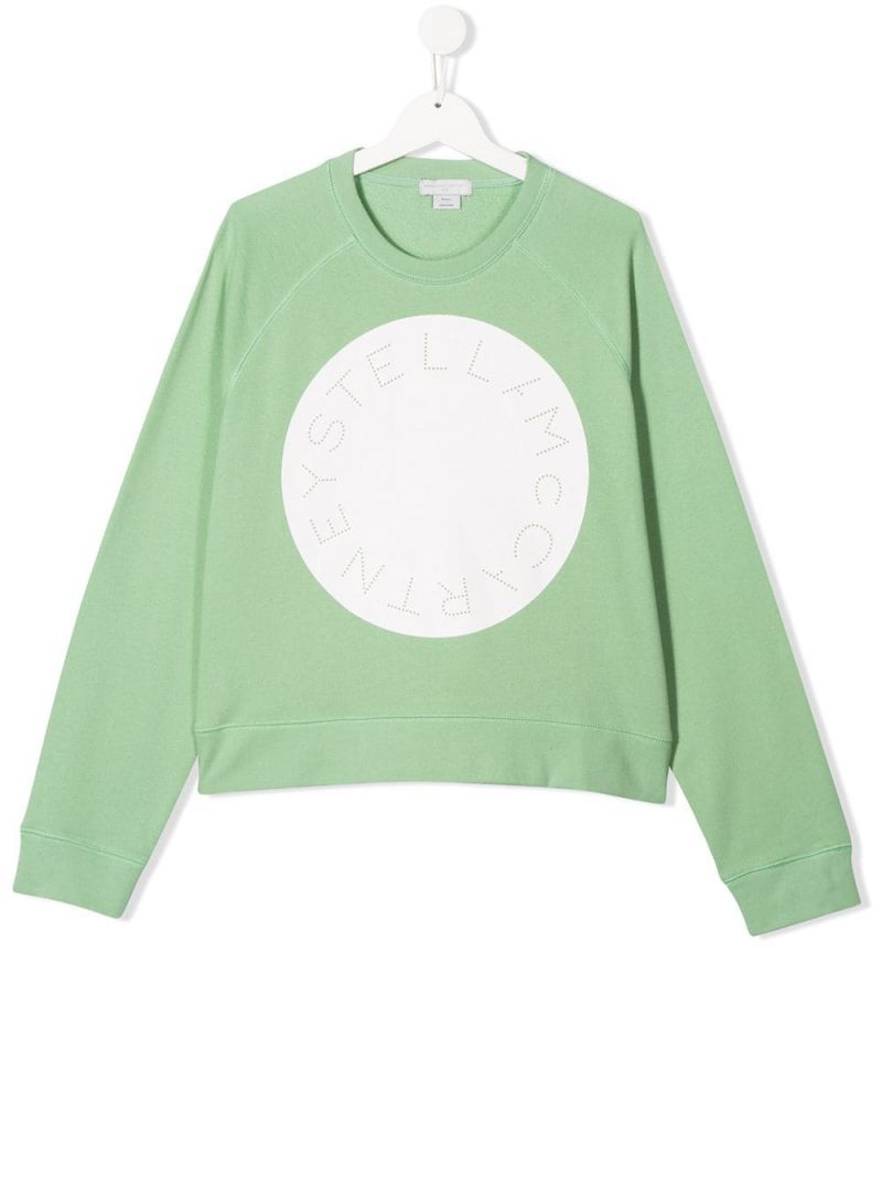 STELLA McCARTNEY KIDS: logo print cotton oversize sweatshirt Color Green_1